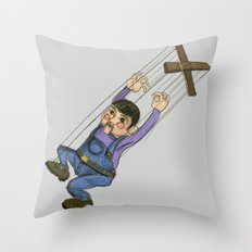 DOLL PUPPET II RED CHEEKS  Throw Pillow