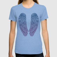 Angel Wings Womens Fitted Tee Tri-Blue SMALL