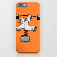 iPhone & iPod Case featuring Chicken Lifting Weights by Mailboxdisco