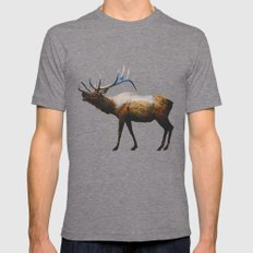 The Rocky Mountain Elk Mens Fitted Tee Tri-Grey SMALL