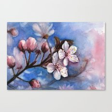 Cherry Blossoms Watercolor | Cherry Blossom Painting Canvas Print