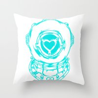 Love Helmet: Blue Throw Pillow