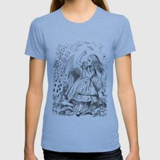 Alice's card attack Womens Fitted Tee Athletic Blue SMALL