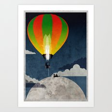 Picnic in a Balloon on the Moon Art Print