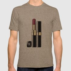 LIPSTICK PRINT Makeup Print Lipstick Print,Makeup Painting Glam Room  Fashion Painting  Mens Fitted Tee Tri-Coffee SMALL
