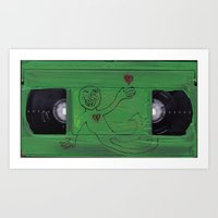 VHS HEARTS Art Print
