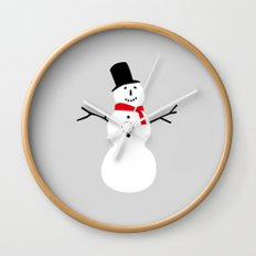 Christmas Snowman-Gray Wall Clock