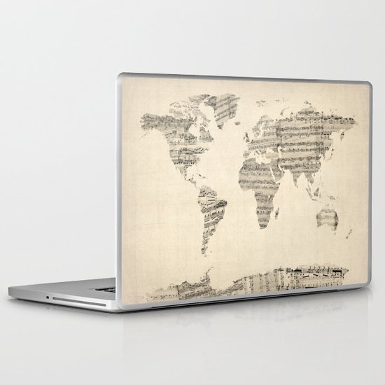 Old Sheet Music World Map Laptop & iPad Skin