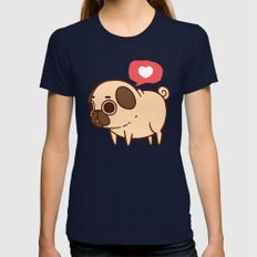 Puglie Heart Womens Fitted Tee Navy SMALL
