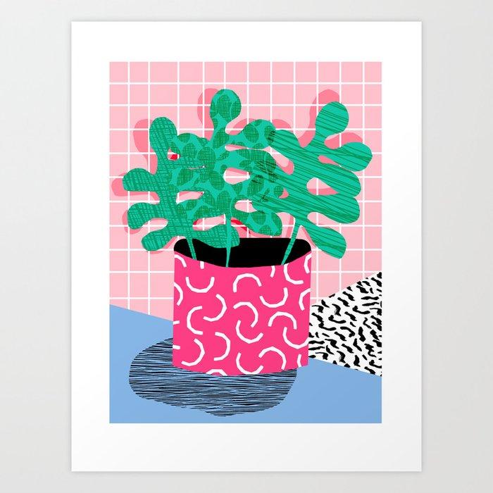 Shredding indoor house plant pop art grid pattern for Minimal art neon