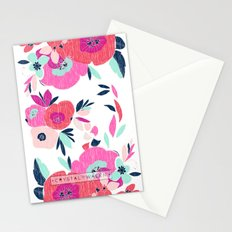 Janis Poppy Ikat Floral  Stationery Cards