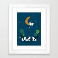 A cow jump over the moon Framed Art Print