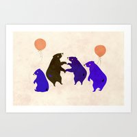 A Sleepy Bear Party Art Print