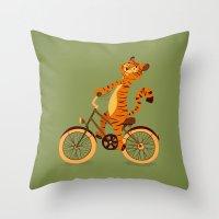 Tiger on the bike Throw Pillow