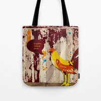 the rooster still bites Tote Bag
