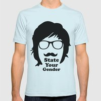 State Your Gender Mens Fitted Tee Light Blue SMALL