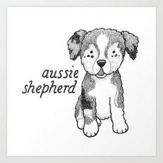 Dog Breeds: Australian Shepherd Art Print