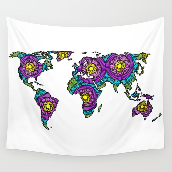 tangled rainbow world map drawing wall tapestry