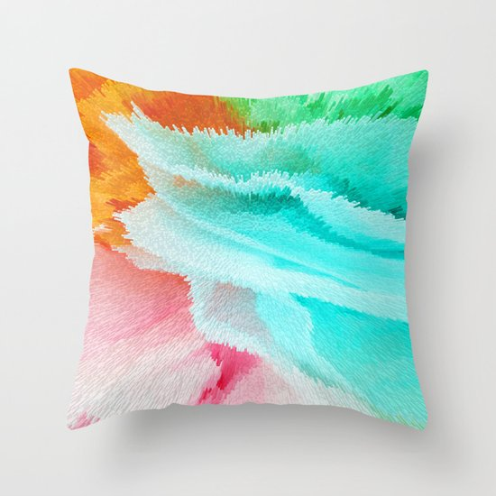 Red Green And Blue Throw Pillows : pink orange green and blue Throw Pillow by Lara Gurney Society6