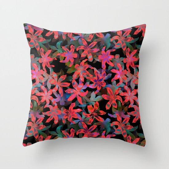 Tropical Serenade - Black Throw Pillow