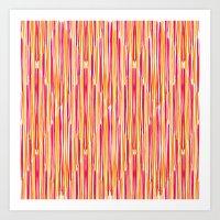 Wobbly Scotch - Pink & Orange Art Print