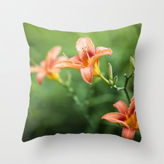 Lilies Of The Field - Orange  Throw Pillow