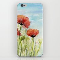 Red Poppies Watercolor  iPhone & iPod Skin