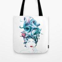 A girl with aqua hair Tote Bag