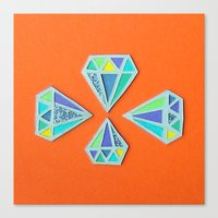 Diamonds Papercut Canvas Print