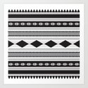 Black Aztec Pattern Art Print