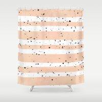 Modern coral watercolor stripes black splatters Shower Curtain
