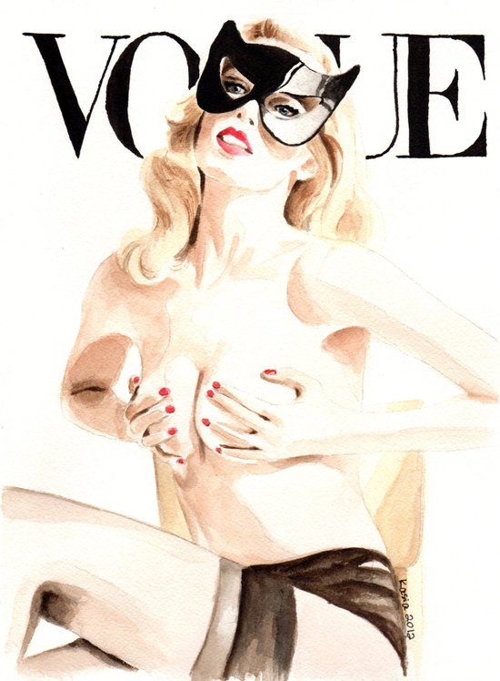Vogue Magazine Cover. Claudia Schiffer. Fashion Illustration. Art Print