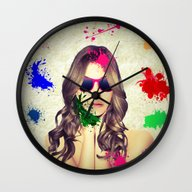 Wall Clock featuring Woman Art 2 by Cs025
