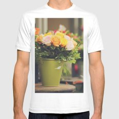 Vintage roses White SMALL Mens Fitted Tee