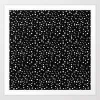 PolkaDots-White On Black Art Print