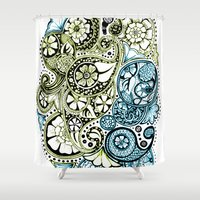 Blue Lime Paisley Shower Curtain