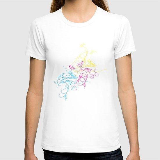 birds doodle in cmyk T-shirt