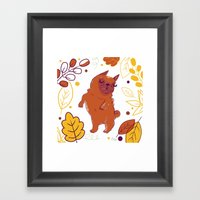 Happy Fall, Dogs! (Pug) Framed Art Print
