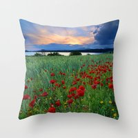 Spring poppies. Sunset at the lake. Throw Pillow