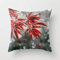 Japanese Red Maple Leaves  Throw Pillow
