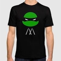 TMNT Mikey poster Mens Fitted Tee Black SMALL