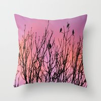 Tree Birds. Throw Pillow