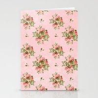 Pink Vintage Roses Stationery Cards