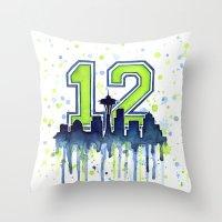 Hawks 12th Man Fan Art Throw Pillow