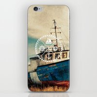 Blue Brown Vintage Nauti… iPhone & iPod Skin