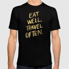 Eat Well Travel Often on Gold SMALL Black Mens Fitted Tee