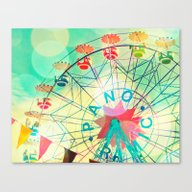 Canvas Print featuring Panoramic Carnival Ferri… by Bomobob