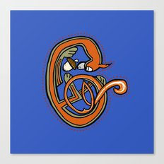 Medieval Blue Squirrel letter C Canvas Print
