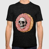 Skull Donut Mens Fitted Tee Tri-Black SMALL