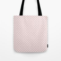 Taupe Polka Dots on Pink Tote Bag